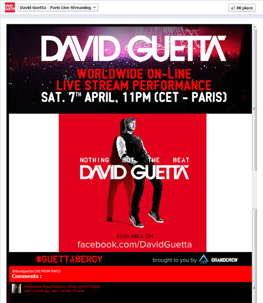 Screen shot of David Guetta Facebook page