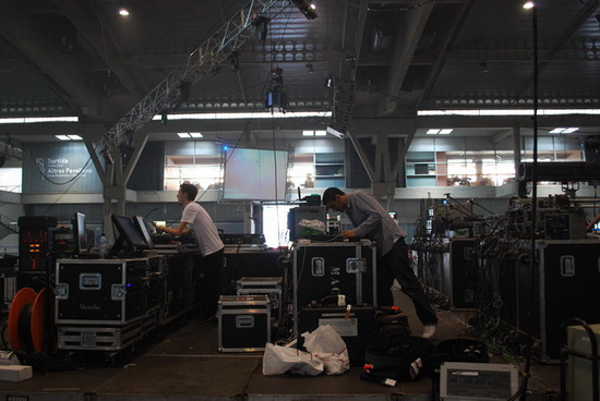 The team setting up for SebastiAn at Sonar.